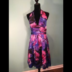 Adrianna Papell Floral Halter Silk Dress Size 12